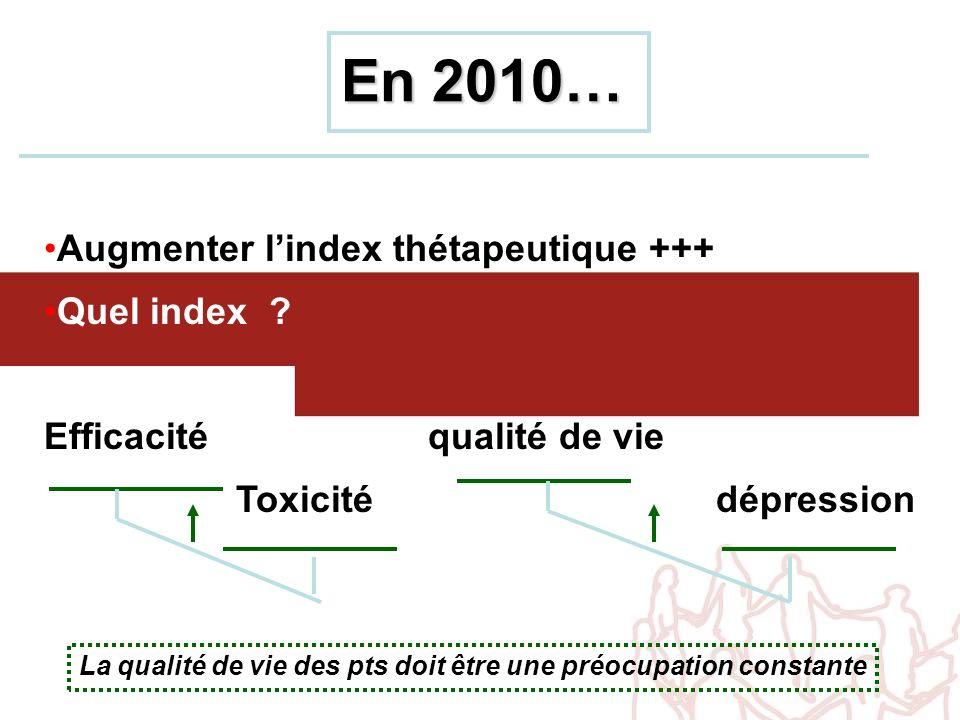 En 2010… Augmenter lindex thétapeutique +++ Quel index ? Efficacitéqualité de vie Toxicitédépression La qualité de vie des pts doit être une préocupat