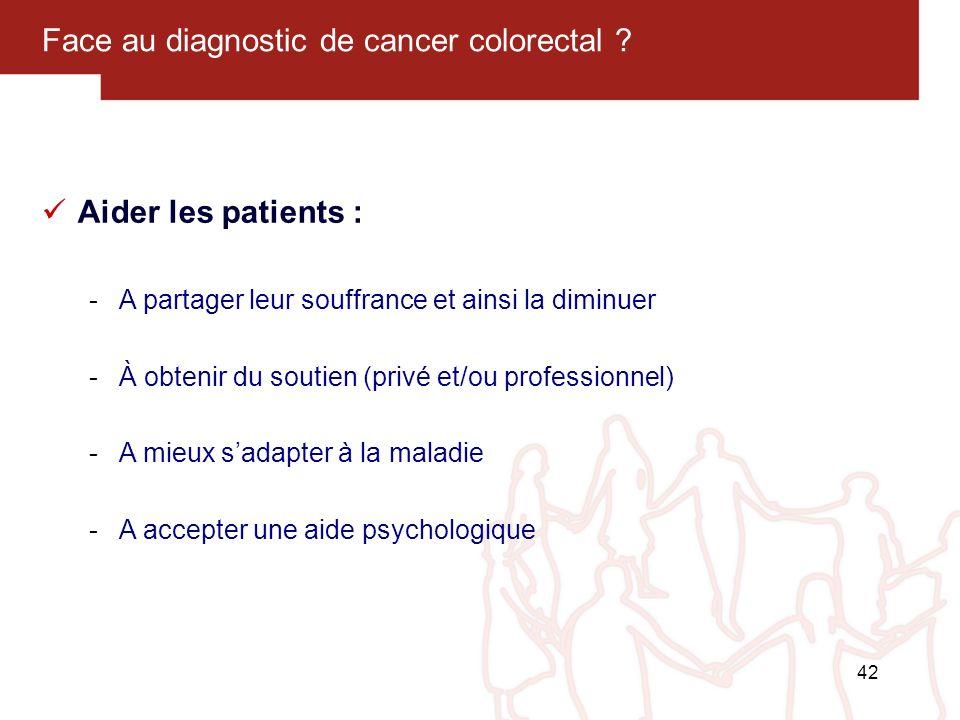 42 Face au diagnostic de cancer colorectal ? Aider les patients : -A partager leur souffrance et ainsi la diminuer -À obtenir du soutien (privé et/ou