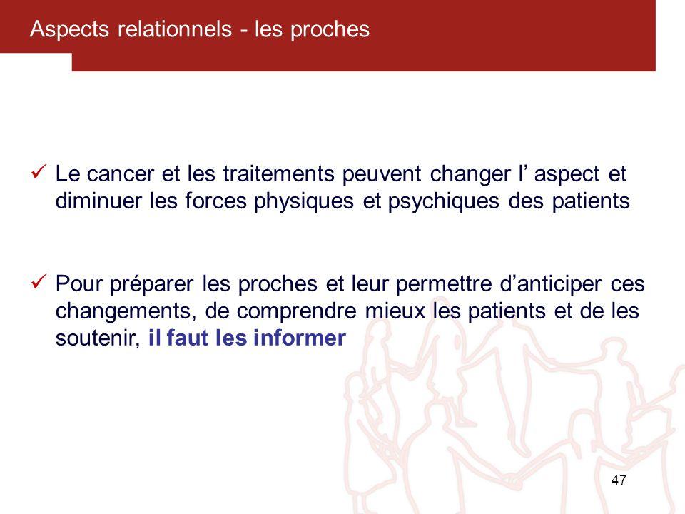47 Aspects relationnels - les proches Le cancer et les traitements peuvent changer l aspect et diminuer les forces physiques et psychiques des patient