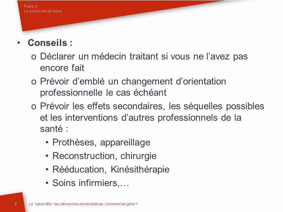 Partie 2 Le protocole de soins 7Le