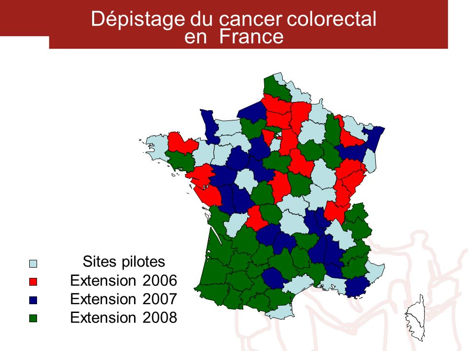 Dépistage du cancer colorectal en France Sites pilotes Extension 2006 Extension 2007 Extension 2008