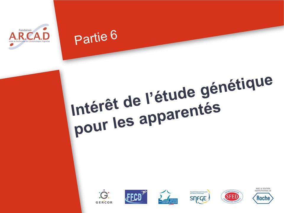 Partie 6 Intérêt de létude génétique pour les apparentés