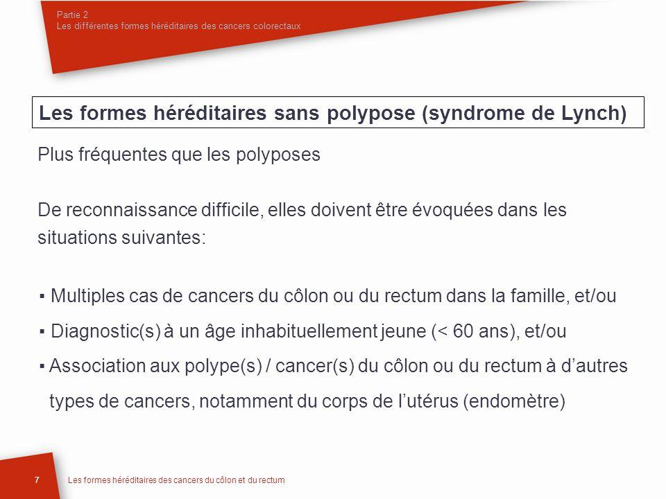 Partie 2 Les différentes formes héréditaires des cancers colorectaux 7Les formes héréditaires des cancers du côlon et du rectum Plus fréquentes que le