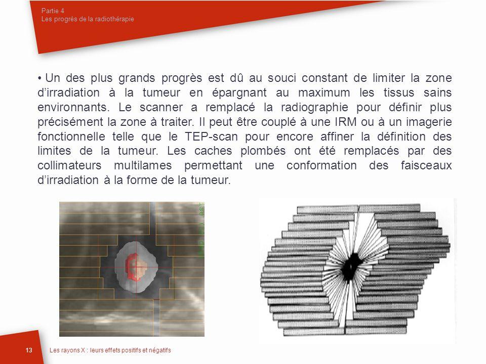 Partie 4 Les progrès de la radiothérapie 13Les rayons X : leurs effets positifs et négatifs Un des plus grands progrès est dû au souci constant de lim