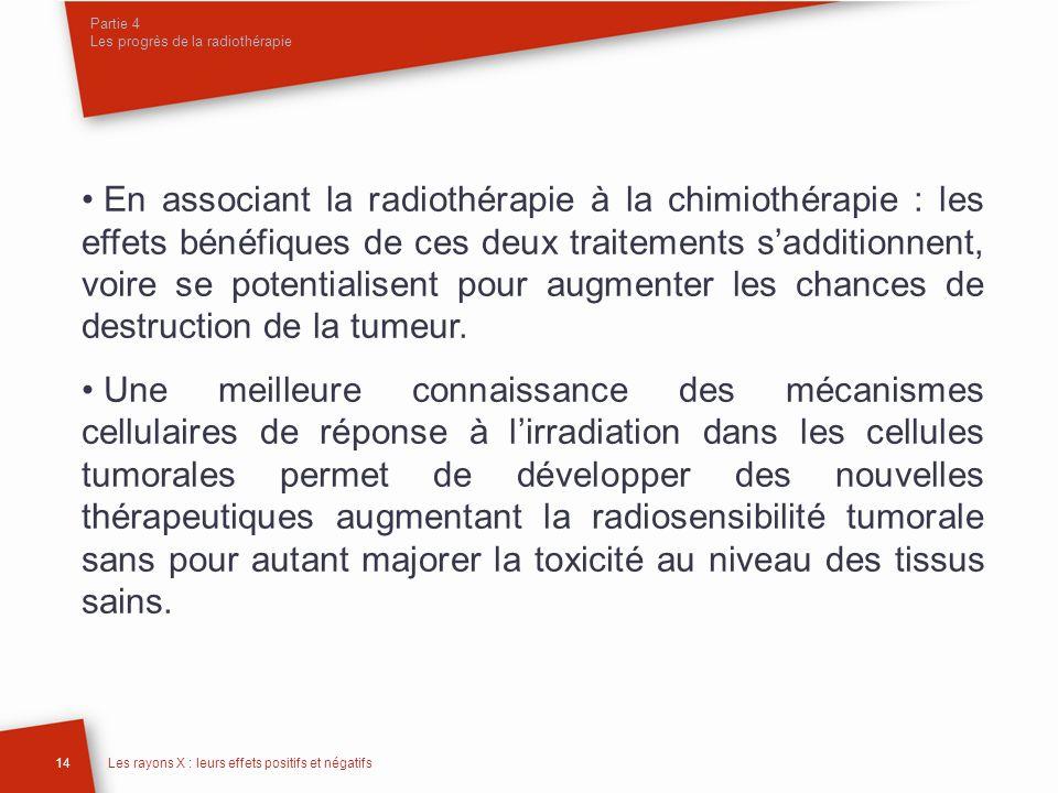 Partie 4 Les progrès de la radiothérapie 14Les rayons X : leurs effets positifs et négatifs En associant la radiothérapie à la chimiothérapie : les ef