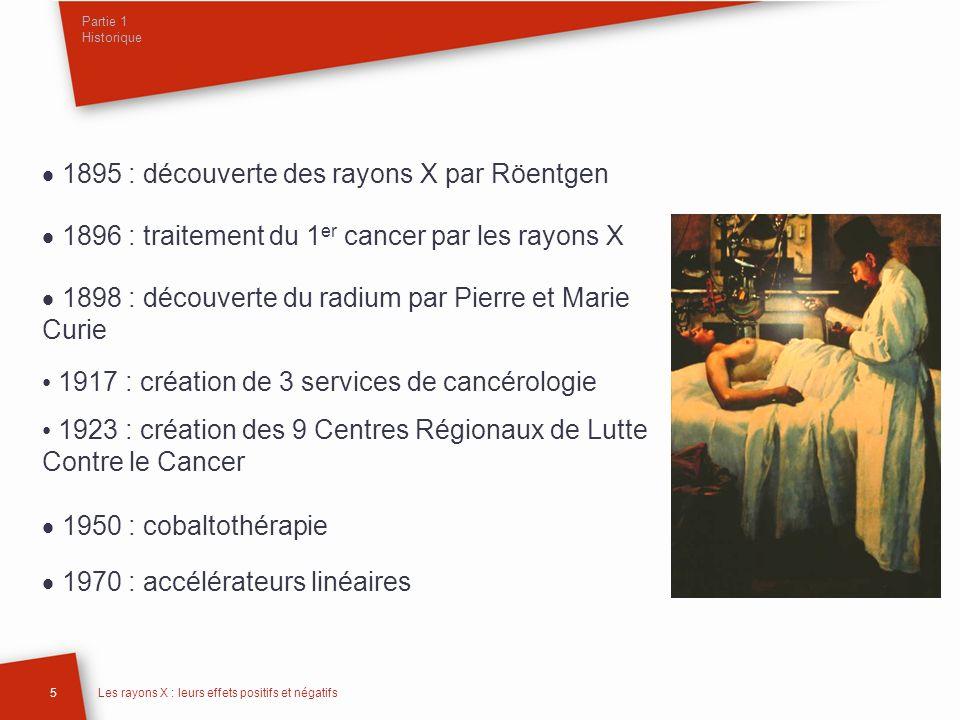 Partie 1 Historique 5Les rayons X : leurs effets positifs et négatifs 1895 : découverte des rayons X par Röentgen 1896 : traitement du 1 er cancer par