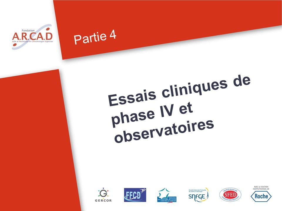 Essais cliniques de phase IV et observatoires Partie 4