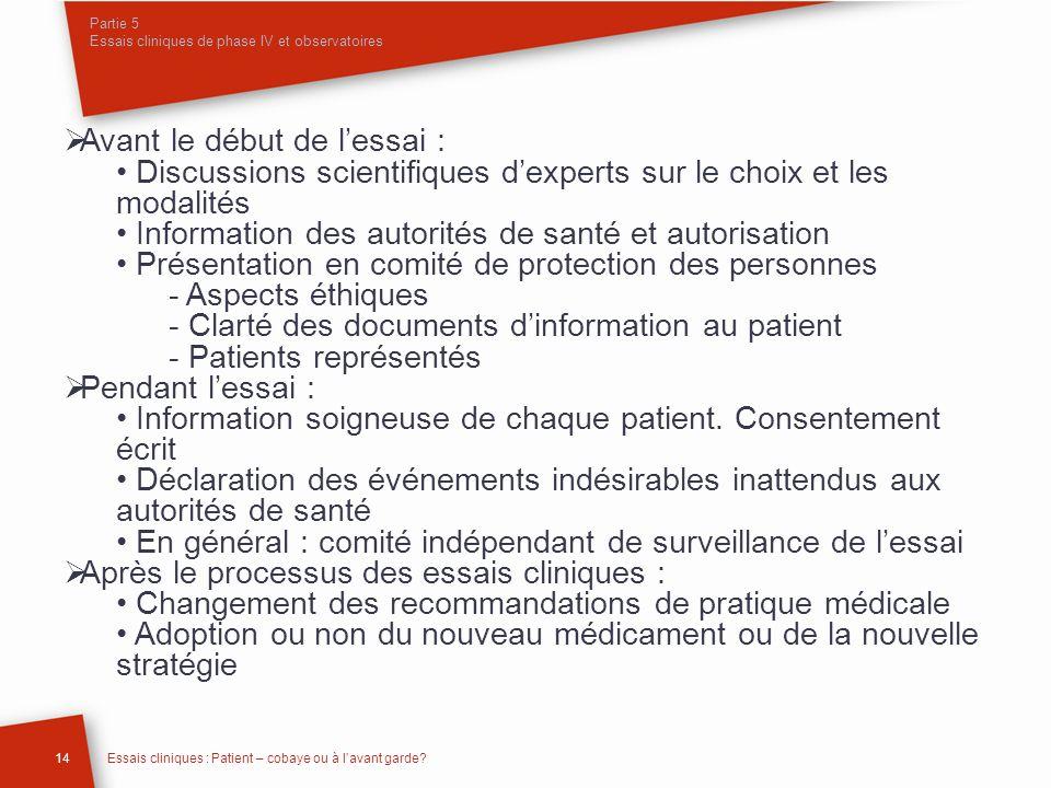 Partie 5 Essais cliniques de phase IV et observatoires 14Essais cliniques : Patient – cobaye ou à lavant garde? Avant le début de lessai : Discussions