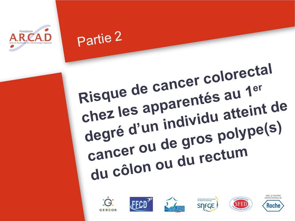 Partie 2 Risque de cancer colorectal chez les apparentés au 1 er degré dun individu atteint de cancer ou de gros polype(s) du côlon ou du rectum