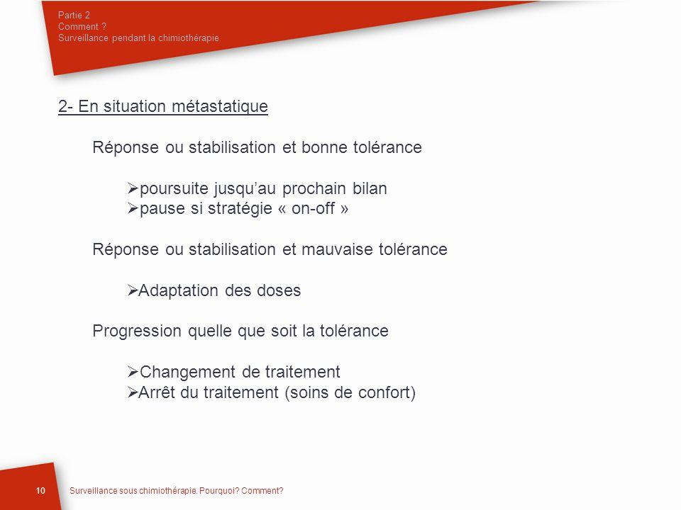 2- En situation métastatique Réponse ou stabilisation et bonne tolérance poursuite jusquau prochain bilan pause si stratégie « on-off » Réponse ou sta