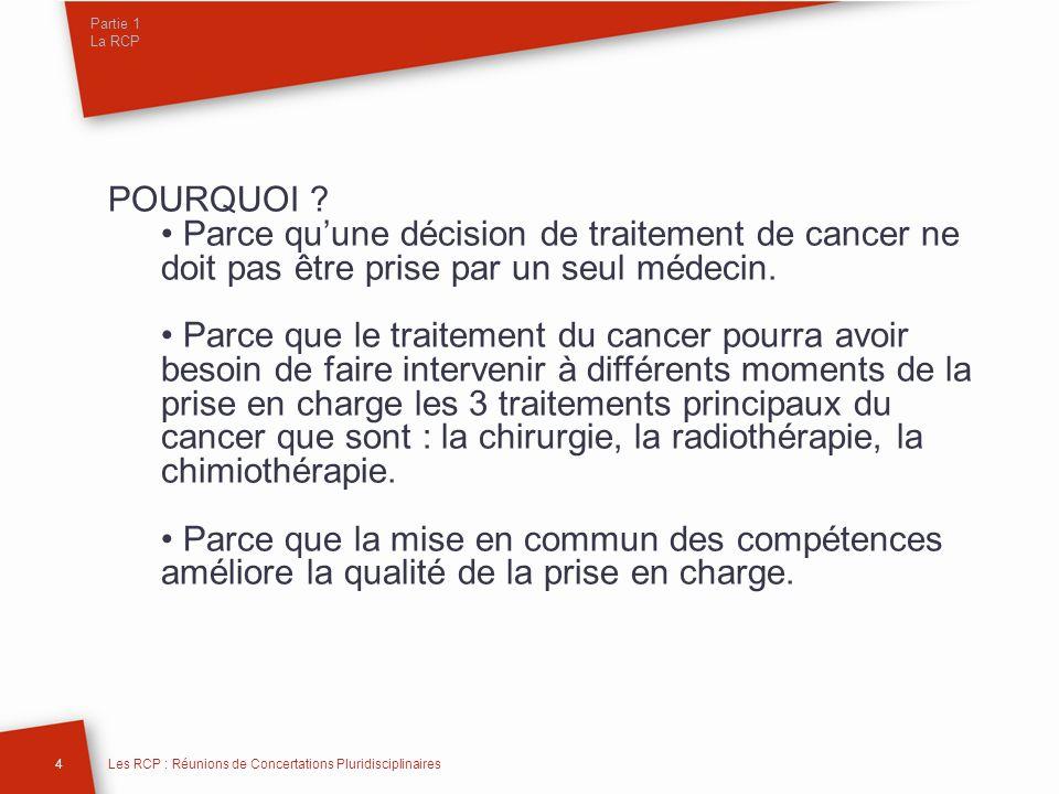 Partie 1 La RCP POURQUOI ? Parce quune décision de traitement de cancer ne doit pas être prise par un seul médecin. Parce que le traitement du cancer