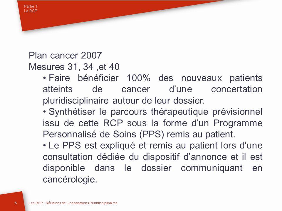 Partie 1 La RCP Plan cancer 2007 Mesures 31, 34,et 40 Faire bénéficier 100% des nouveaux patients atteints de cancer dune concertation pluridisciplina
