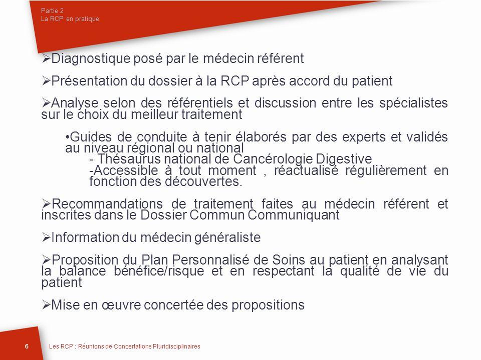Partie 2 La RCP en pratique Diagnostique posé par le médecin référent Présentation du dossier à la RCP après accord du patient Analyse selon des référ