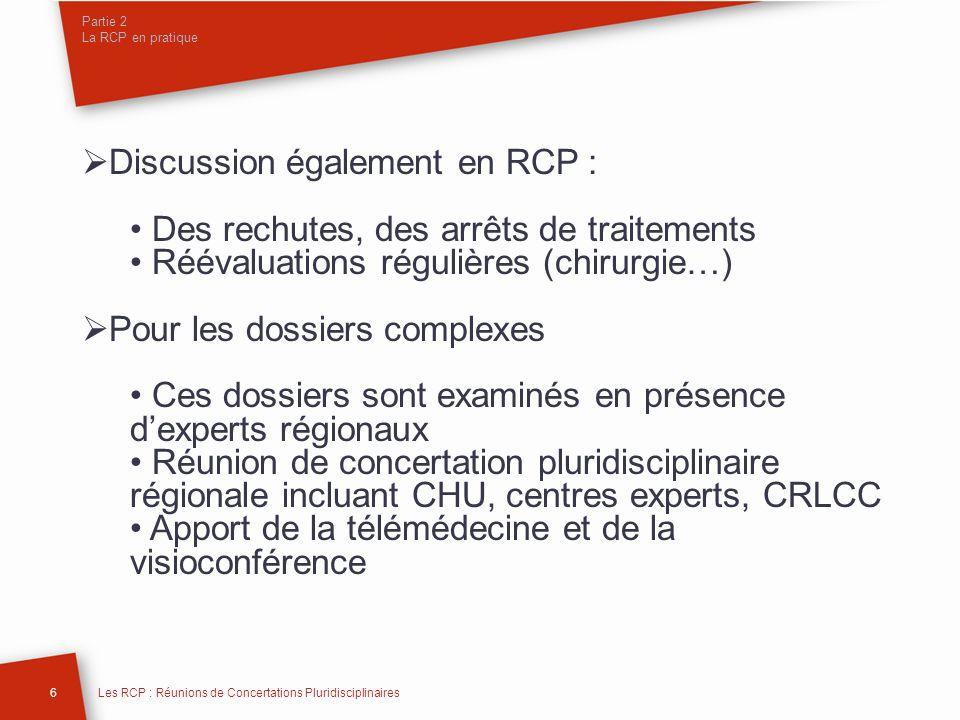 Partie 2 La RCP en pratique Discussion également en RCP : Des rechutes, des arrêts de traitements Réévaluations régulières (chirurgie…) Pour les dossi