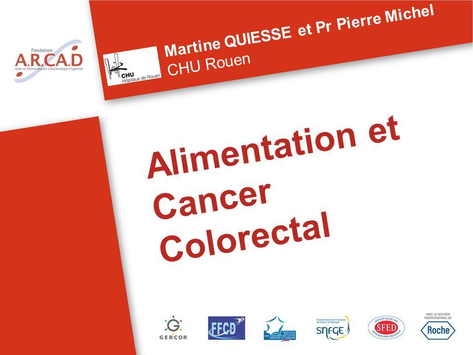 Alimentation et Cancer Colorectal Martine QUIESSE et Pr Pierre Michel CHU Rouen