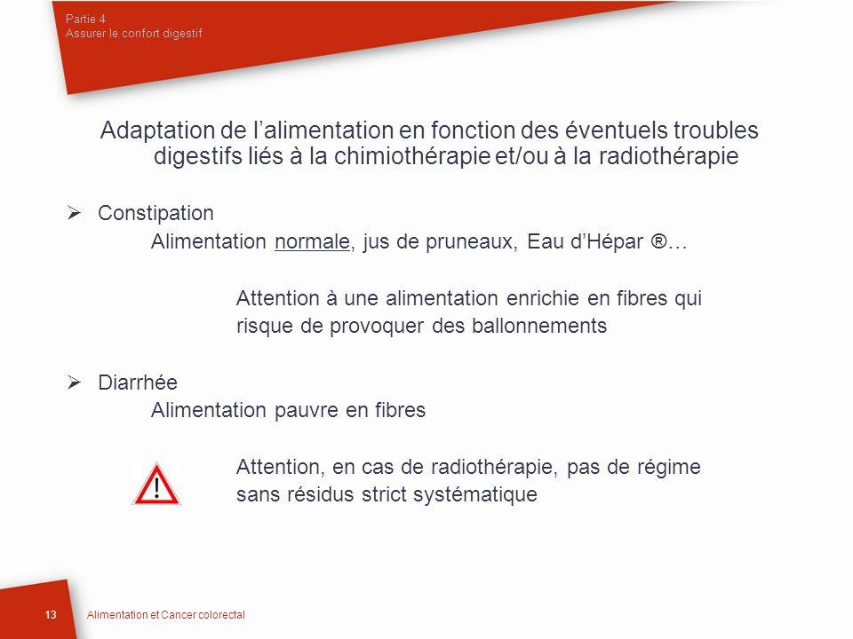 Adaptation de lalimentation en fonction des éventuels troubles digestifs liés à la chimiothérapie et/ou à la radiothérapie Constipation Alimentation n