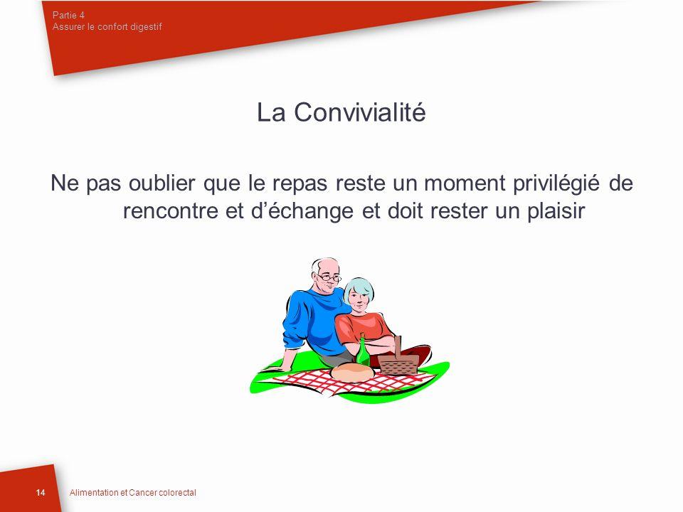 Partie 4 Assurer le confort digestif 14Alimentation et Cancer colorectal La Convivialité Ne pas oublier que le repas reste un moment privilégié de ren