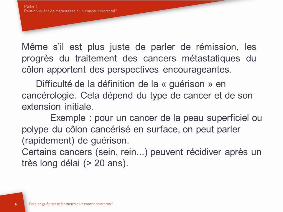 Partie 1 Peut-on guérir de métastases dun cancer colorectal? Même sil est plus juste de parler de rémission, les progrès du traitement des cancers mét
