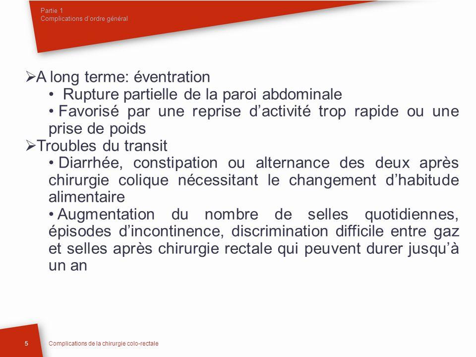 Partie 1 Complications dordre général A long terme: éventration Rupture partielle de la paroi abdominale Favorisé par une reprise dactivité trop rapid