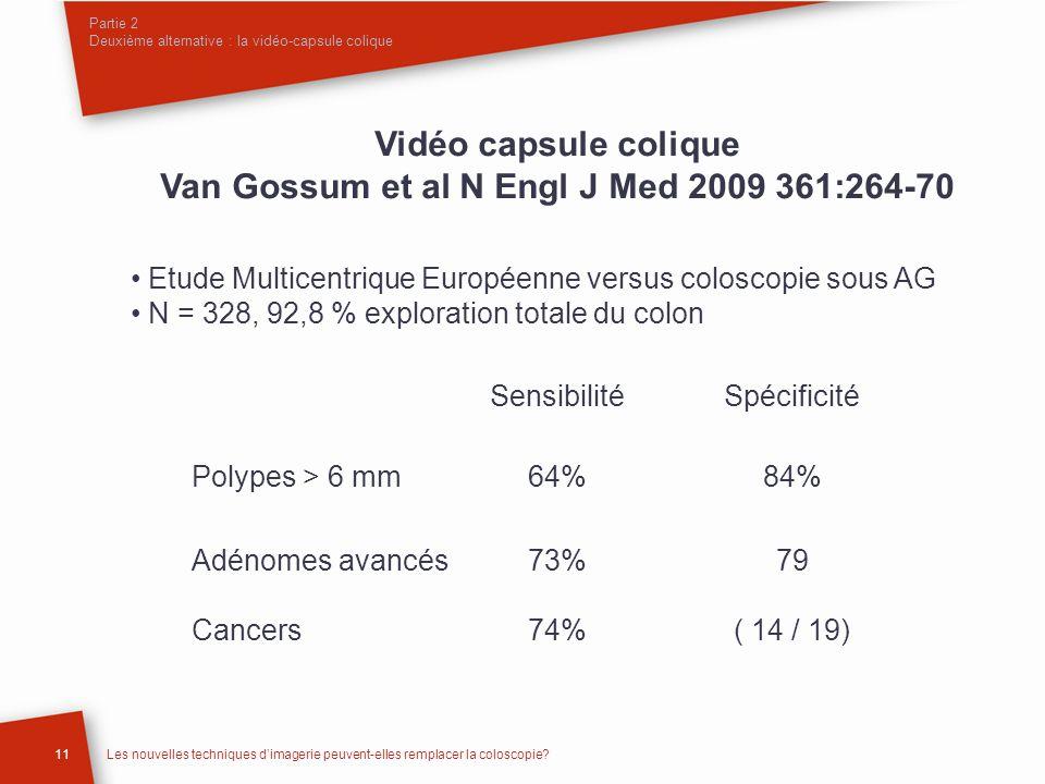11Les nouvelles techniques dimagerie peuvent-elles remplacer la coloscopie? Vidéo capsule colique Van Gossum et al N Engl J Med 2009 361:264-70 Etude