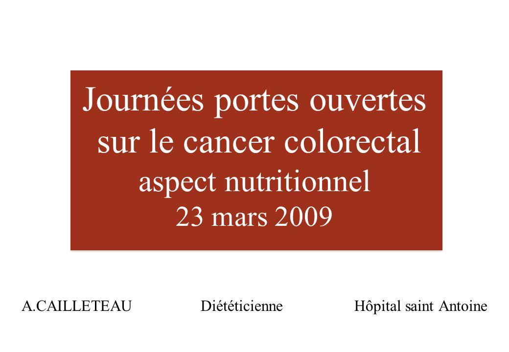 Journées portes ouvertes sur le cancer colorectal aspect nutritionnel 23 mars 2009 A.CAILLETEAU Diététicienne Hôpital saint Antoine