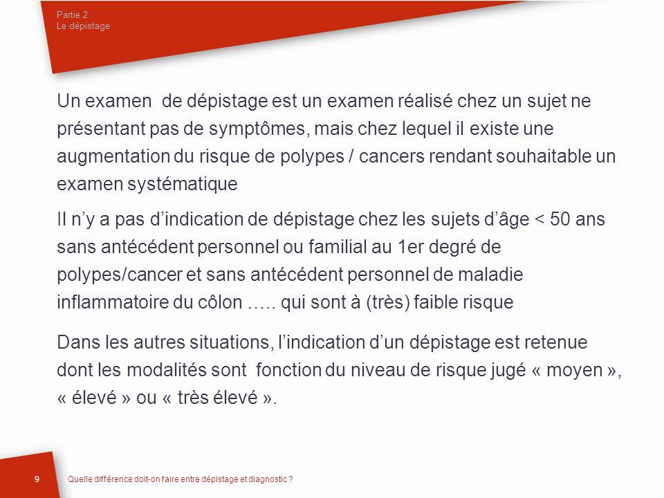 Partie 2 Le dépistage 10Quelle différence doit-on faire entre dépistage et diagnostic .