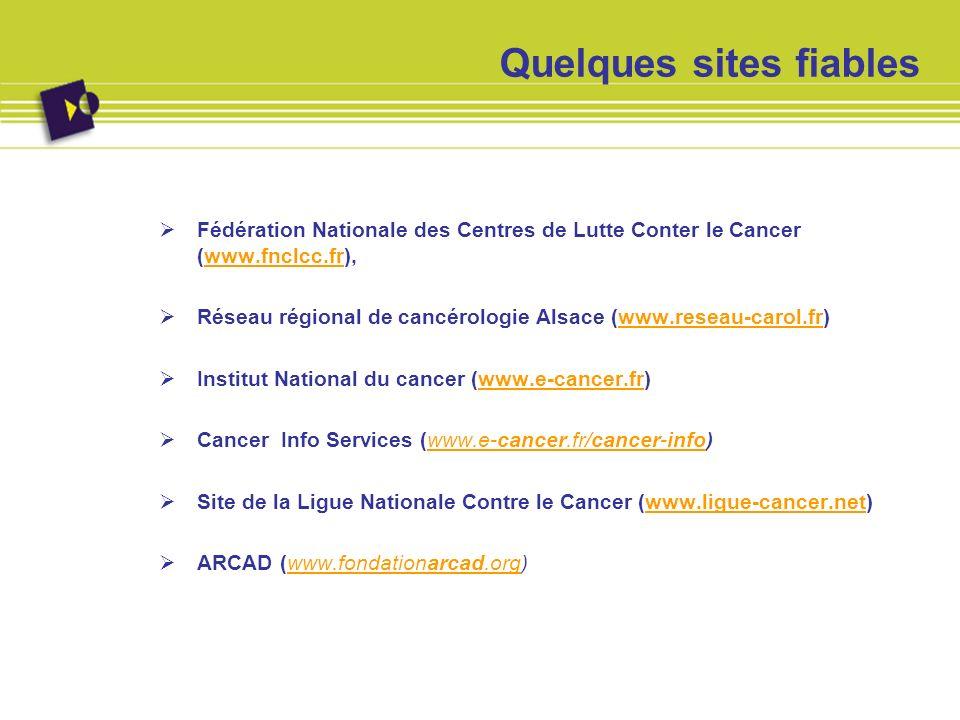 Quelques sites fiables Fédération Nationale des Centres de Lutte Conter le Cancer (www.fnclcc.fr),www.fnclcc.fr Réseau régional de cancérologie Alsace