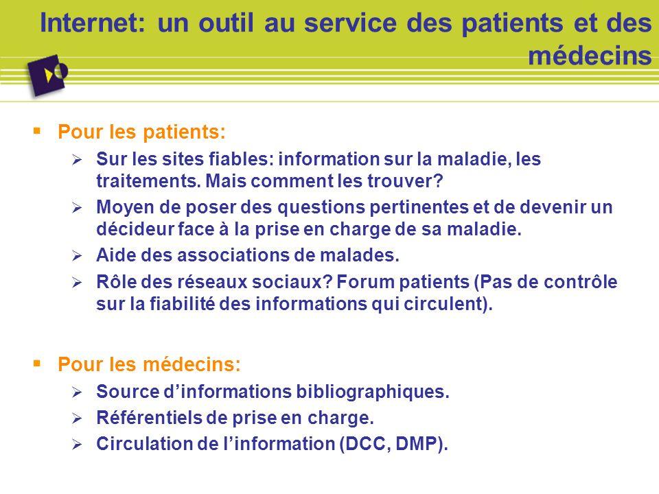 Internet: un outil au service des patients et des médecins Pour les patients: Sur les sites fiables: information sur la maladie, les traitements. Mais