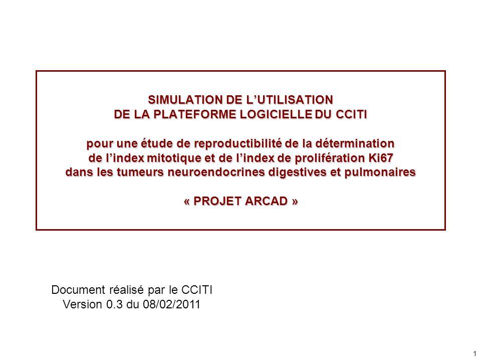 1 SIMULATION DE LUTILISATION DE LA PLATEFORME LOGICIELLE DU CCITI pour une étude de reproductibilité de la détermination de lindex mitotique et de lin