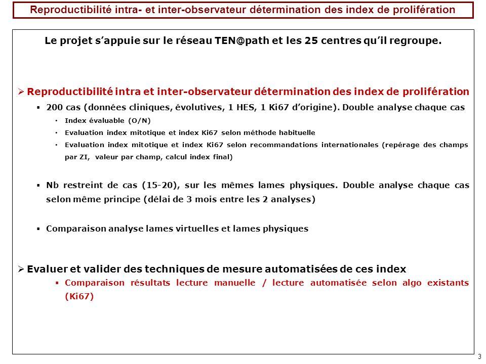 3 Reproductibilité intra- et inter-observateur détermination des index de prolifération Le projet sappuie sur le réseau TEN@path et les 25 centres qui