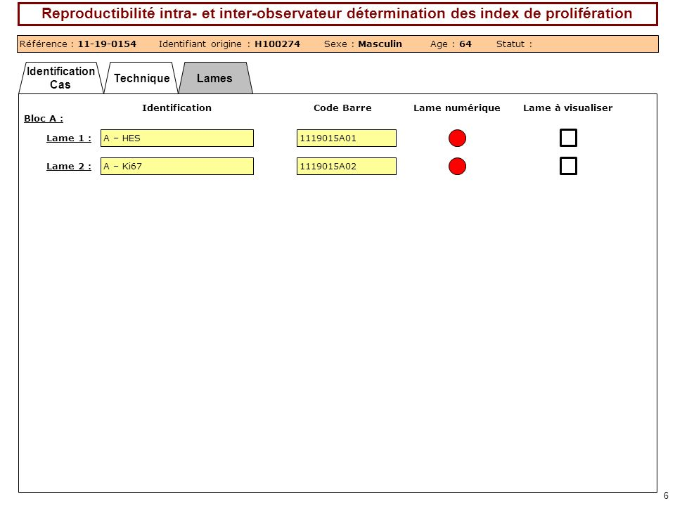 Identification Cas TechniqueLames 6 Reproductibilité intra- et inter-observateur détermination des index de prolifération Référence : 11-19-0154Identi