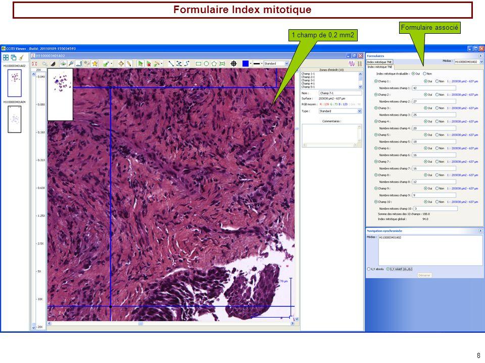 8 Formulaire Index mitotique 1 champ de 0,2 mm2 Formulaire associé
