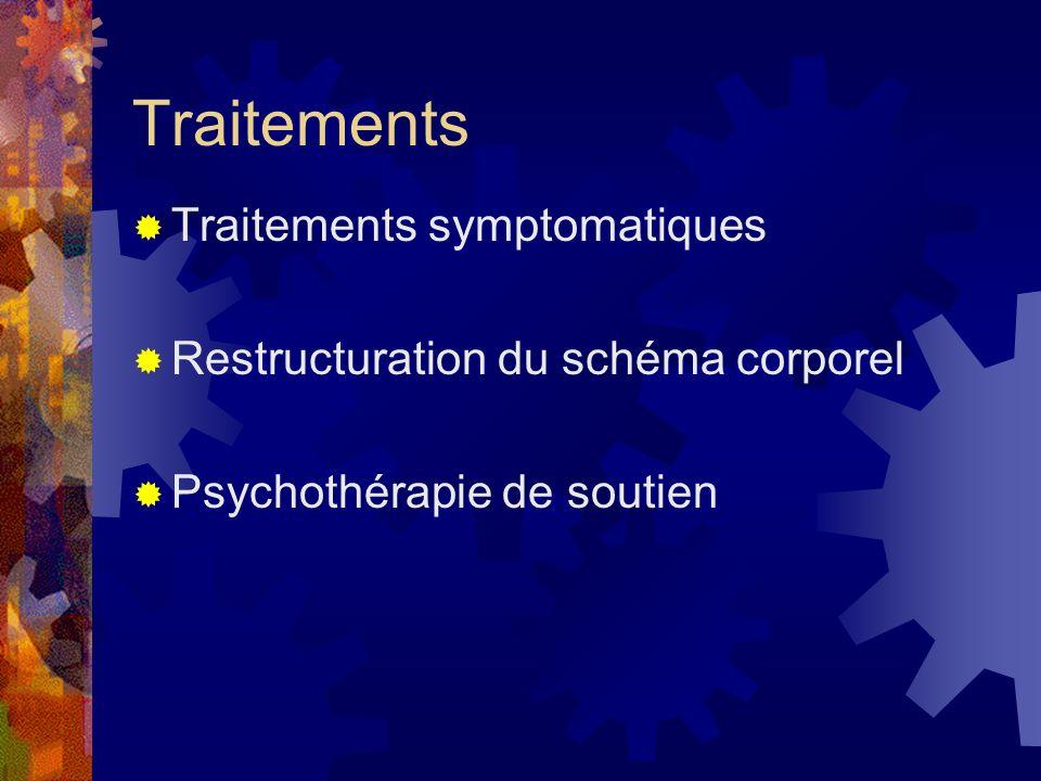 Traitements Traitements symptomatiques Restructuration du schéma corporel Psychothérapie de soutien