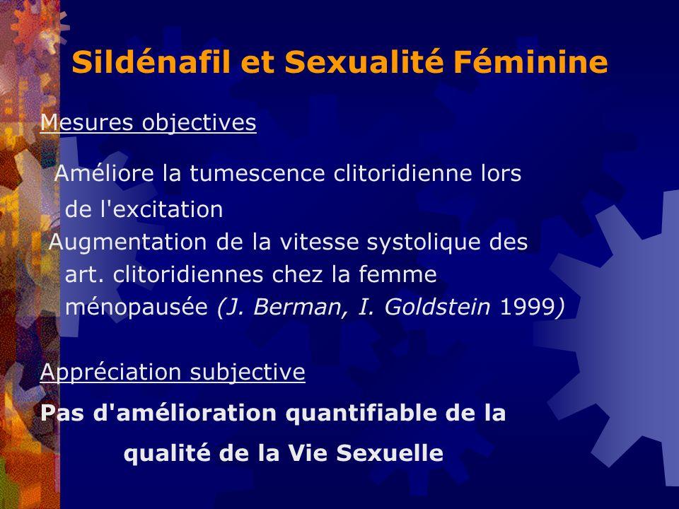 Sildénafil et Sexualité Féminine Mesures objectives Améliore la tumescence clitoridienne lors de l'excitation Augmentation de la vitesse systolique de
