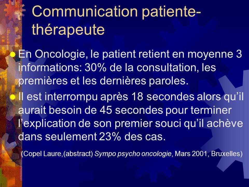 Communication patiente- thérapeute En Oncologie, le patient retient en moyenne 3 informations: 30% de la consultation, les premières et les dernières paroles.