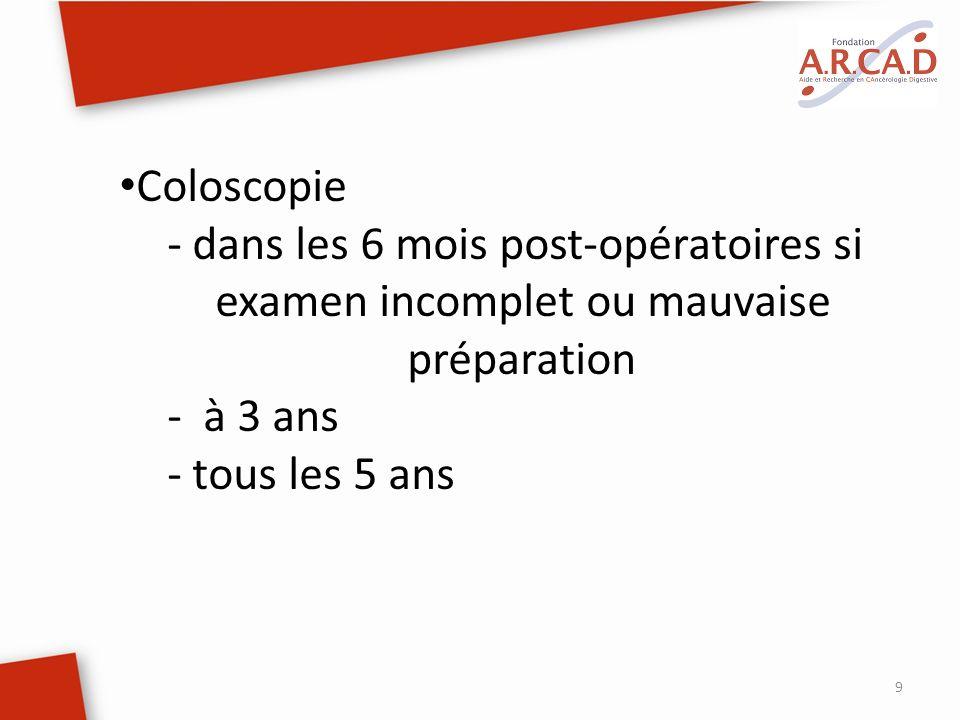 9 Coloscopie - dans les 6 mois post-opératoires si examen incomplet ou mauvaise préparation - à 3 ans - tous les 5 ans