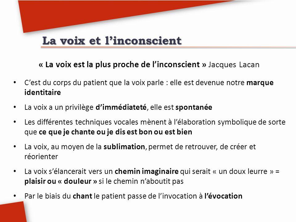 La voix et linconscient « La voix est la plus proche de linconscient » Jacques Lacan Cest du corps du patient que la voix parle : elle est devenue not