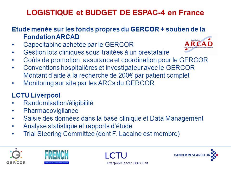 LCTU Liverpool Cancer Trials Unit LOGISTIQUE et BUDGET DE ESPAC-4 en France Etude menée sur les fonds propres du GERCOR + soutien de la Fondation ARCA