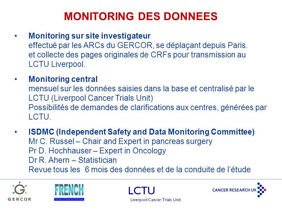 LCTU Liverpool Cancer Trials Unit MONITORING DES DONNEES Monitoring sur site investigateur effectué par les ARCs du GERCOR, se déplaçant depuis Paris.