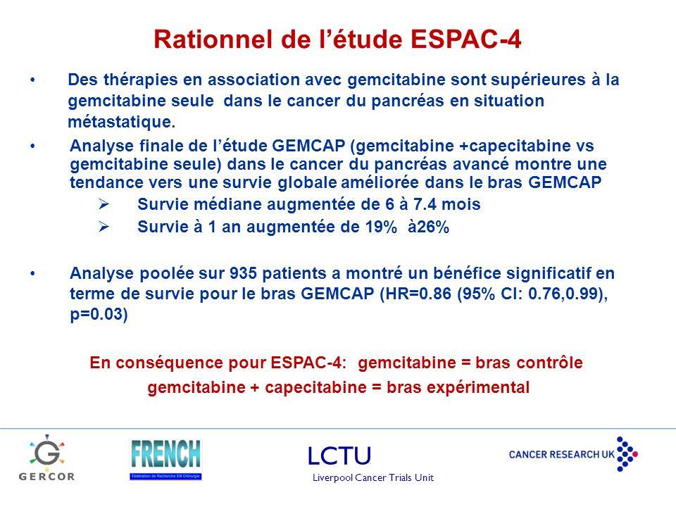 LCTU Liverpool Cancer Trials Unit Des thérapies en association avec gemcitabine sont supérieures à la gemcitabine seule dans le cancer du pancréas en