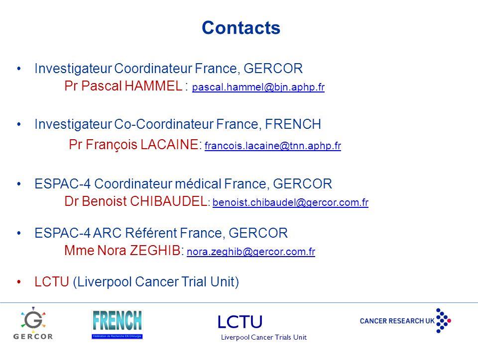 LCTU Liverpool Cancer Trials Unit Contacts Investigateur Coordinateur France, GERCOR Pr Pascal HAMMEL : pascal.hammel@bjn.aphp.fr pascal.hammel@bjn.ap