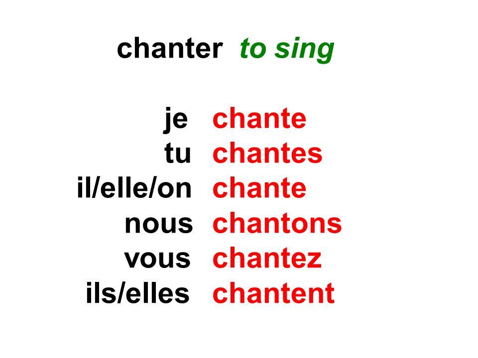 chanter to sing jechante tuchantes il/elle/onchante nouschantons vouschantez ils/elles chantent