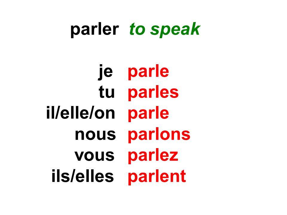 parler to speak jeparle tuparles il/elle/onparle nousparlons vousparlez ils/elles parlent