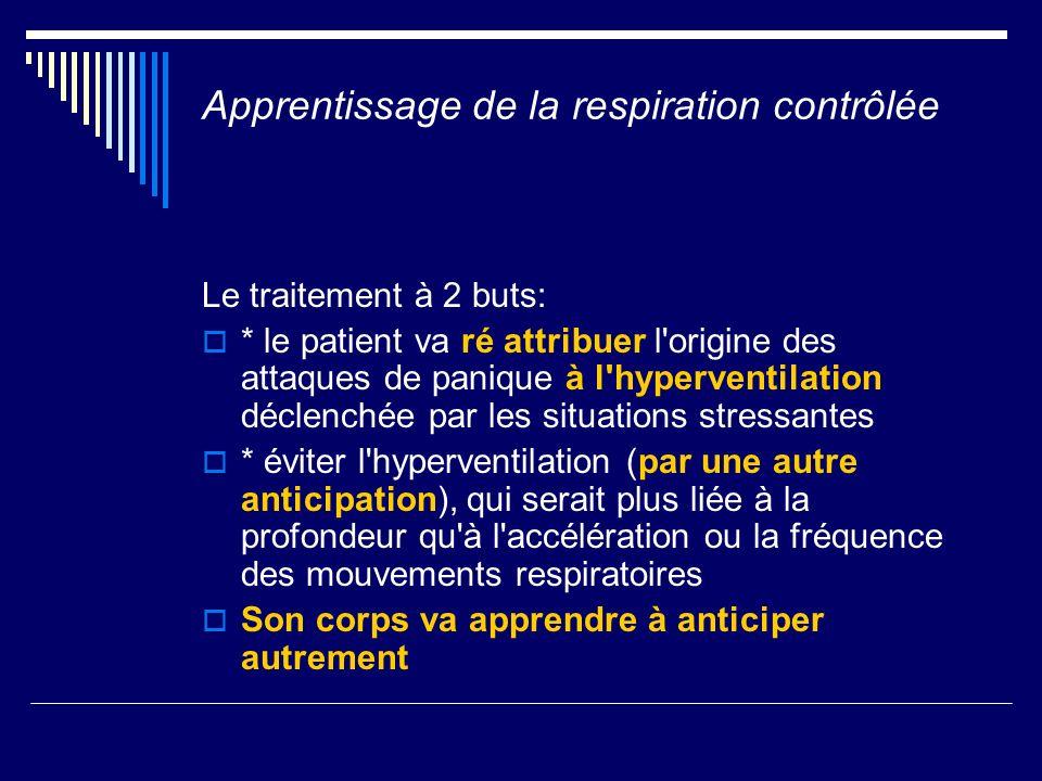 Apprentissage de la respiration contrôlée Le traitement à 2 buts: * le patient va ré attribuer l'origine des attaques de panique à l'hyperventilation