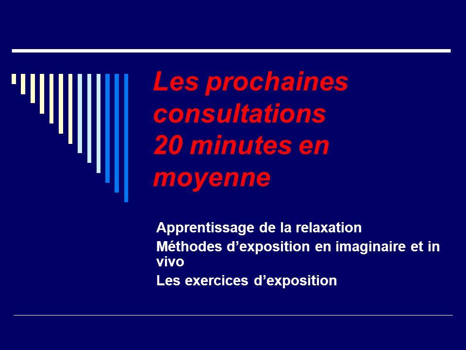 Les prochaines consultations 20 minutes en moyenne Apprentissage de la relaxation Méthodes dexposition en imaginaire et in vivo Les exercices dexposit