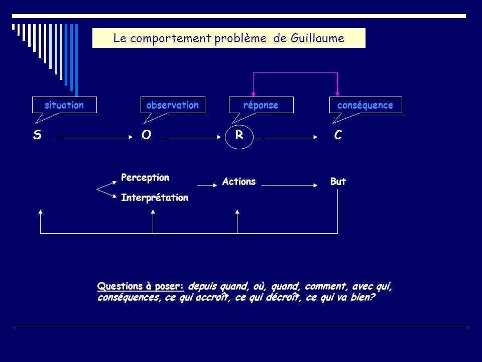 SOCR Perception Interprétation ActionsBut Le comportement problème de Guillaume Questions à poser: depuis quand, où, quand, comment, avec qui, conséqu