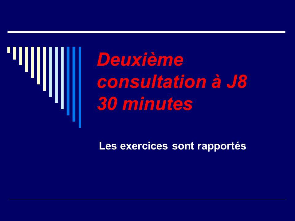 Deuxième consultation à J8 30 minutes Les exercices sont rapportés