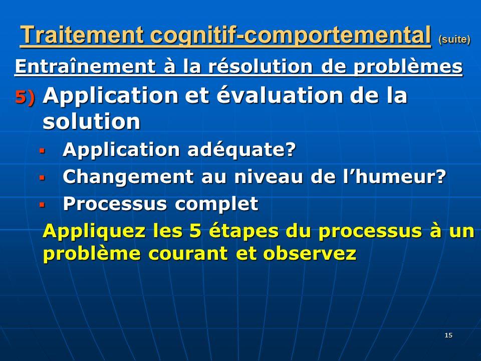 15 Traitement cognitif-comportemental (suite) Entraînement à la résolution de problèmes 5) Application et évaluation de la solution Application adéqua