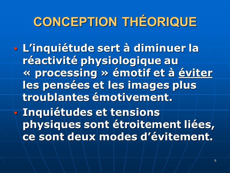 5 CONCEPTION THÉORIQUE Linquiétude sert à diminuer la réactivité physiologique au « processing » émotif et à éviter les pensées et les images plus tro