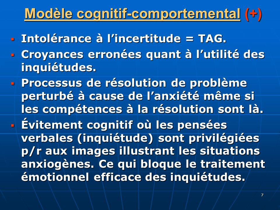 7 Modèle cognitif-comportemental (+) Intolérance à lincertitude = TAG. Intolérance à lincertitude = TAG. Croyances erronées quant à lutilité des inqui
